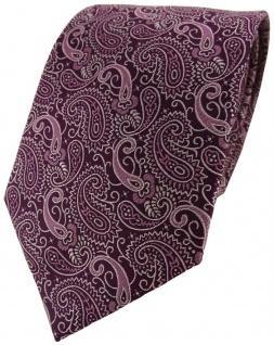 Schöne Seidenkrawatte in lila violett silber paisley gemustert - Krawatte Seide