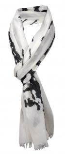 """Schal in schwarz weiß Motiv """" Eiffelturm"""" mit kleinen Fransen - Gr. 180 x 50 cm"""