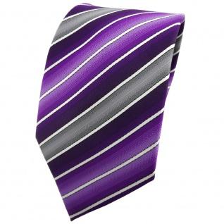 TigerTie Krawatte lila dunkellila grau creme gestreift - Tie Binder