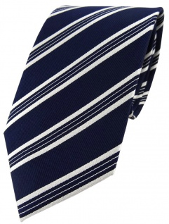 TigerTie Designer Seidenkrawatte dunkelblau blau weiss gestreift -Krawatte Seide