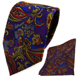 TigerTie Designer Krawatte + Einstecktuch lila blau gold anthrazit Paisley