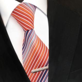 XXL Designer Krawatte orange blau weiß creme gestreift + Krawattennadel
