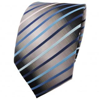 TigerTie Krawatte in türkis blau silber grau weiß schwarz gestreift