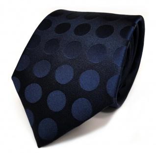 TigerTie Seidenkrawatte blau dunkelblau schwarzblau gepunktet - Krawatte Seide