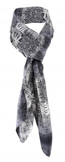 Satin Halstuch in grau anthrazit weissgrau gemustert - Tuchgröße 90 x 90 cm - Vorschau