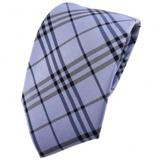 TigerTie Seidenkrawatte blau hellblau anthrazit kariert - Krawatte Seide Tie