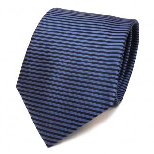 Designer Seidenkrawatte blau hellblau fernblau schwarz gestreift- Krawatte Seide - Vorschau 2