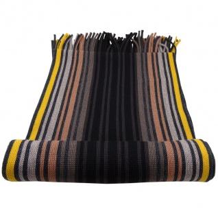 Designer Schal 100% Schurwolle braun beige schwarz gelb gestreift - Strickschal