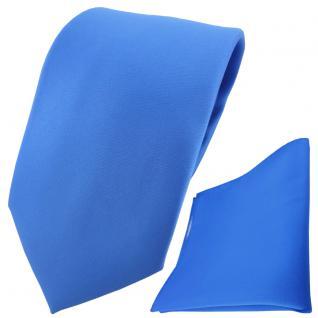 TigerTie Designer Krawatte + Einstecktuch blau einfarbig Uni