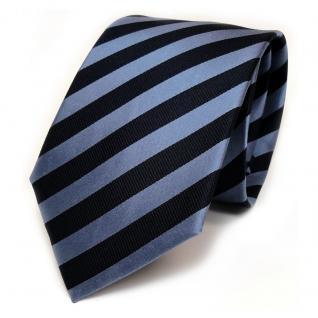 TigerTie Seidenkrawatte blau dunkelblau graublau gestreift - Krawatte Seide Silk