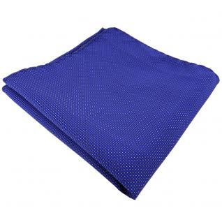 TigerTie Einstecktuch blau signalblau silber gepunktet - Tuch 100% Polyester
