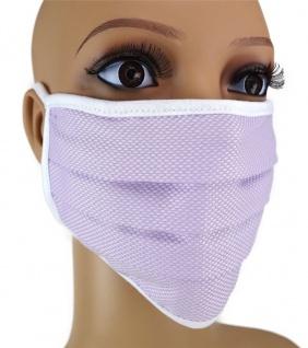 TigerTie Gesichtsmaske mit Nasenbügel Pique flieder gemustert mit Schnürbändchen