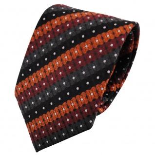 TigerTie Designer Krawatte orange schwarz anthrazit silber gestreift - Binder