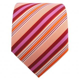 TigerTie Krawatte orange rot rosa creme gestreift - Schlips Binder Tie - Vorschau 2