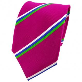 TigerTie Seidenkrawatte magenta grün blau weiß gestreift - Krawatte 100% Seide