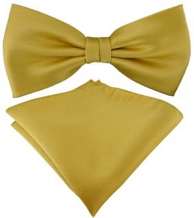 TigerTie Satin Fliege + TigerTie Einstecktuch in gold Uni Einfarbig + Box