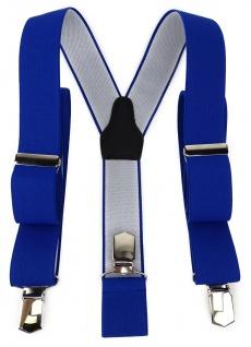TigerTie Unisex Hosenträger mit 3 extra starken Clips - blau royal Uni - Vorschau 1