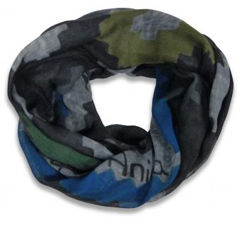 Lara & Anica limitierter Modal Ethno Loop Schal grau schwarz grün blau Rundschal