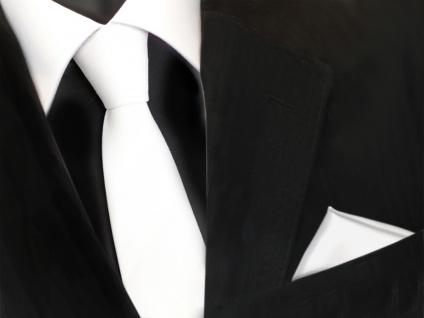 schmale TigerTie Schlips Krawatte + Einstecktuch weiß schneeweiß uni einfarbig
