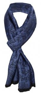 TigerTie Designer Schal in blau marine Paisley gemustert - Gr. 180 x 50 cm