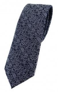 TigerTie - schmale Designer Krawatte in silber grau schwarz florales Muster
