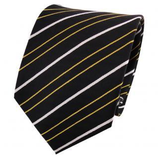 TigerTie Seidenkrawatte gold gelb schwarz silber gestreift - Krawatte Seide Tie