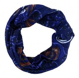 TigerTie Multifunktionstuch in blaulila braun Paisley - Tuch Schal Schlauchtuch
