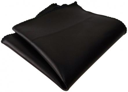 TigerTie Ledereinstecktuch schwarz einfarbig Uni - Einstecktuch 100% Lammnappa