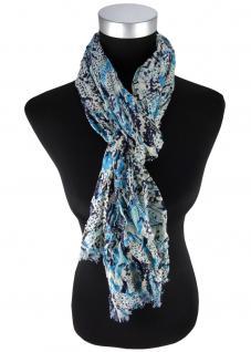 Schal in türkis marine-dunkelblau grau gemustert - Gr.180 x 70 cm - 100% Viscose