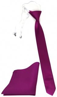 XXL TigerTie Sicherheits Krawatte + Einstecktuch in magenta fuchsia Uni Rips