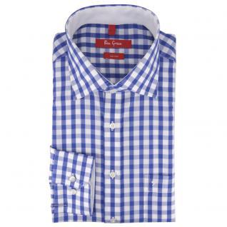 Ben Green Herrenhemd blau weiß langarm bügelfrei - New-Kent-Kragen Hemd Gr.39