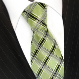 TigerTie Seidenkrawatte grün hellgrün anthrazit silber kariert - Krawatte Seide