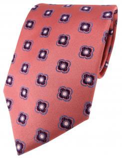 Seidenkrawatte rot rosé lila blau silber gemustert - Krawatte Seide Silk Binder