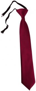 TigerTie Kinderkrawatte bordeaux Uni - Krawatte vorgebunden mit Gummizug