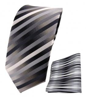 schmale TigerTie Seidenkrawatte + Einstecktuch anthrazit silber grau gestreift