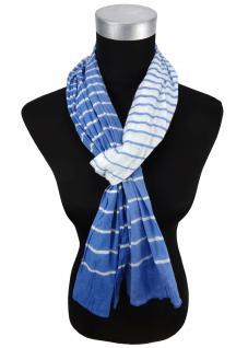 gecrashter Schal in blau hellblau gestreift - Gr. 180 x 50 cm