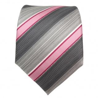 TigerTie Seidenkrawatte rosa rot grau silber anthrazit gestreift- Krawatte Seide - Vorschau 3