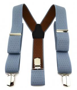 TigerTie Unisex Hosenträger mit 3 extra starken Clips - blau braun gepunktet