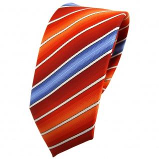 Schmale TigerTie Krawatte orange rotorange dunkelorange blau creme gestreift