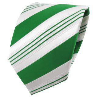 TigerTie Satin Krawatte grün smaragdgrün weiß silber gestreift - Binder Schlips