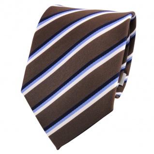 TigerTie Krawatte braun dunkelbraun blau weiß gestreift - Schlips Binder Tie