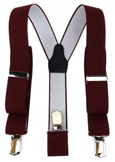 TigerTie Unisex Hosenträger mit 3 extra starken Clips - bordeaux weinrot Uni