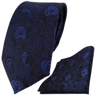 TigerTie Designer Krawatte + Einstecktuch in blau dunkelblau schwarz Paisley