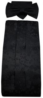 G7 Kummerbund Einstecktuch Fliege schwarz 100% Seide gemustert Gr. 85 bis 110 cm - Vorschau
