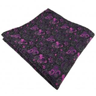 TigerTie Einstecktuch in lila magenta schwarz grau paisley - Tuch 100% Polyester