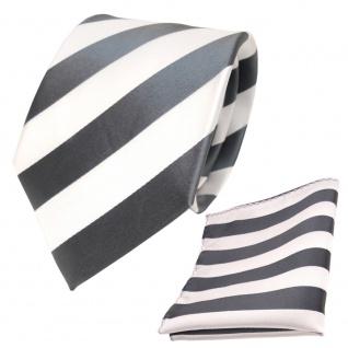 Schicke Designer TigerTie Krawatte + Einstecktuch grau silber weiss gestreift