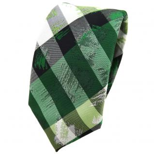 schmale TigerTie Krawatte in grün silber schwarz gestreift - Schlips Binder