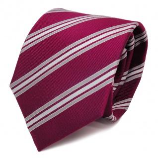 Designer Seidenkrawatte rot rubinrot silber weiss gestreift - Krawatte Seide Tie