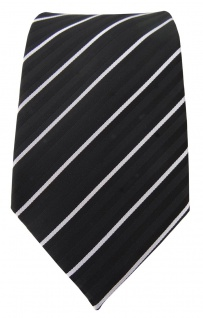 TigerTie Designer Krawatte schwarz silber grau gestreift - Schlips Binder Tie - Vorschau 2