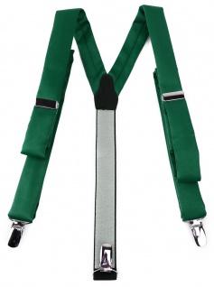 schmaler TigerTie Unisex Hosenträger mit 3 extra starken Clips - in moosgrün Uni